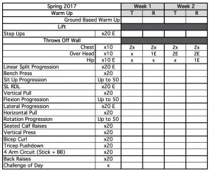 Field Hockey 2017 Preperation Lift 1